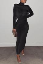 Black Fashion Solid Basic Turtleneck Long Sleeve Dresses