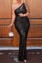 Black Sexy Plus Size Patchwork Sequins Backless One Shoulder Evening Dress