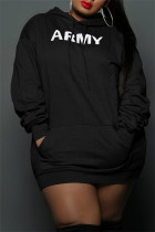 Black Fashion Casual Letter Print Basic Hooded Collar Long Sleeve Plus Size Dresses