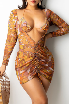 Brown Sexy Print Split Joint V Neck Long Sleeve Two Pieces