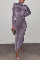 Purple Fashion Solid Basic Turtleneck Long Sleeve Dresses