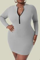 Grey Sexy Solid Split Joint Zipper Collar Pencil Skirt Plus Size Dresses