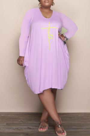 Purple Casual Print Split Joint U Neck Long Sleeve Plus Size Dresses