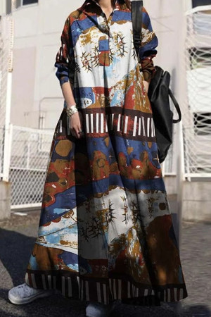 Brown Vintage Print Split Joint Buckle Turndown Collar Shirt Dress Dresses