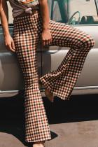Brown Temperament Grids Printed Flared Blending Pants