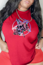 Red Casual Party Print Split Joint O Neck T-Shirts