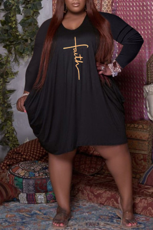 Black Casual Print Split Joint U Neck Long Sleeve Plus Size Dresses