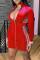 Red Fashion Casual Print Split Joint Zipper Collar Long Sleeve Dresses