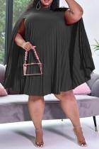 Black Sweet Fold O Neck Dresses