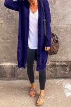 Tibetan Blue Casual Solid Split Joint Buckle Outerwear