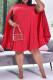 Red Sweet Fold O Neck Dresses
