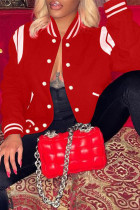Red Fashion Casual Patchwork Print Cardigan Outerwear