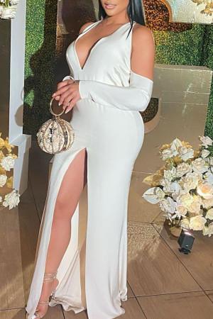 White Sexy Solid Split Joint Backless Slit V Neck Straight Dresses