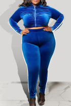 Peacock Blue Casual Solid Split Joint Zipper Collar Plus Size Two Pieces