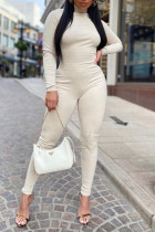 Cream White Sexy Solid Split Joint Backless Turtleneck Skinny Jumpsuits