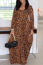 Leopard Print Fashion Leopard Printing O Neck Long Sleeve Dresses