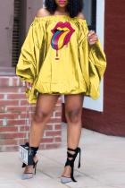Yellow Casual Print Split Joint Off the Shoulder Lantern Dress Dresses