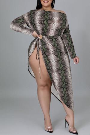Green Fashion Sexy Print Split Joint Off the Shoulder Irregular Dress Plus Size Dresses