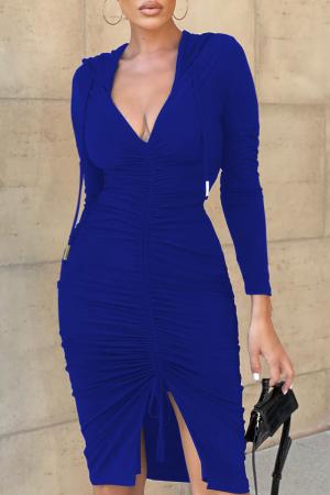 Blue Sexy Solid Split Joint Hooded Collar Irregular Dress Dresses