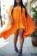 Orange Fashion Casual Solid Off the Shoulder Bat Sleeve Irregular Dress