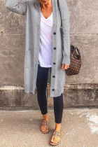 Grey Casual Solid Split Joint Buckle Outerwear