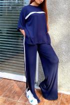 Tibetan Blue Fashion Casual Striped Slit O Neck Three Quarter Two Pieces