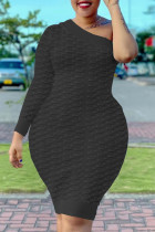Black Fashion Sexy Solid Split Joint One Shoulder One Step Skirt Dresses