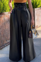 Black Casual Solid Zipper With Belt Loose High Waist Straight Patchwork Bottoms