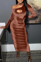 Brown Fashion Sexy Solid Split Joint O Neck One Step Skirt Dresses