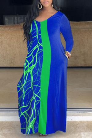 Blue Casual Print Split Joint V Neck Straight Plus Size Dresses