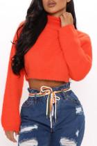 Orange Fashion Casual Solid Basic Turtleneck Tops