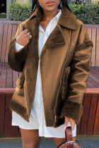 Brown Fashion Casual Solid Split Joint Turndown Collar Outerwear
