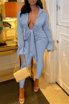 Light Blue Casual Solid Bandage Split Joint Turndown Collar Long Sleeve Two Pieces