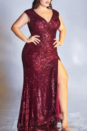 Red Fashion Sexy Plus Size Patchwork Sequins Slit V Neck Evening Dress
