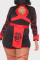 Black Sexy Casual Patchwork Print Bandage Hollowed Out Half A Turtleneck Plus Size Romper