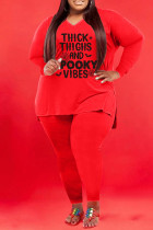 Red Fashion Casual Letter Print Basic V Neck Plus Size Two Pieces