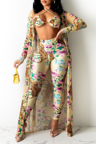 Apricot Sexy Print Split Joint Halter Long Sleeve Three Pieces