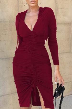 Burgundy Sexy Solid Split Joint Hooded Collar Irregular Dress Dresses
