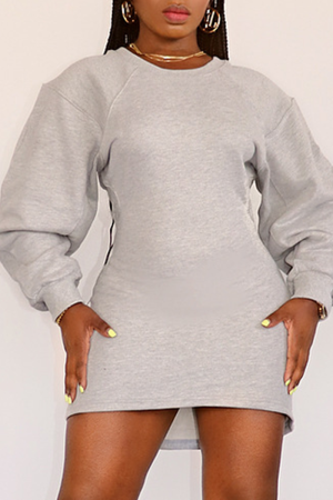 Grey Casual Solid Split Joint O Neck Pencil Skirt Dresses