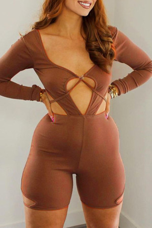 Brown Sexy Casual Solid Hollowed Out V Neck Skinny Romper