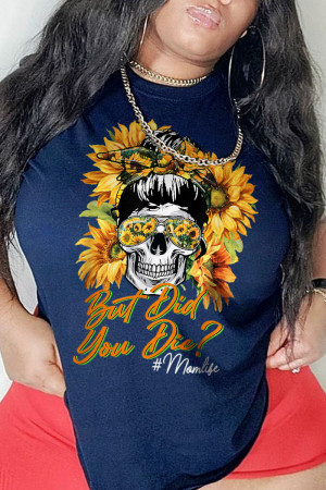 Navy Blue Casual Party Print Split Joint O Neck T-Shirts