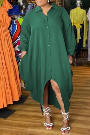 Green Fashion Elegant Solid Split Joint Turndown Collar Irregular Dress Plus Size Dresses