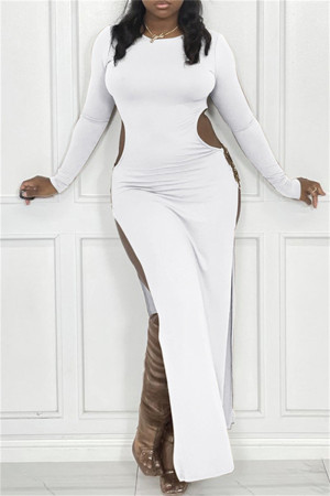 White Sexy Casual Solid Hollowed Out Slit O Neck Long Sleeve Dresses