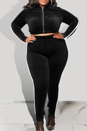 Black Casual Solid Split Joint Zipper Collar Plus Size Two Pieces