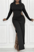 Black Sexy Casual Solid Hollowed Out Slit O Neck Long Sleeve Dresses