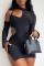Black Sexy Solid Hollowed Out Halter Irregular Dress Dresses