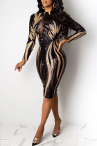 Black Fashion Sexy Patchwork Sequins See-through O Neck Long Sleeve Dresses
