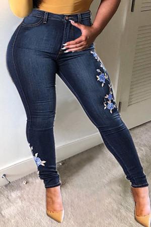 Dark Blue Fashion Street Embroidery Split Joint High Waist Denim Jeans