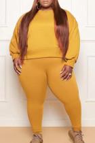 Orange Fashion Casual Solid Basic O Neck Plus Size Two Pieces