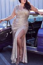 Gold Fashion Sexy Plus Size Patchwork Sequins Slit V Neck Evening Dress
